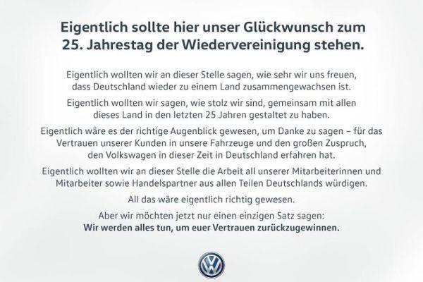 Volkswagen zegt sorry