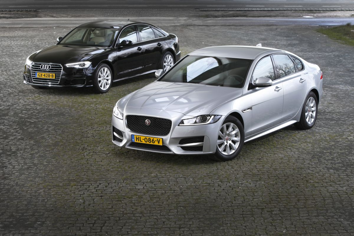 dubbeltest audi a6 2 0 tdi jaguar xf e performance. Black Bedroom Furniture Sets. Home Design Ideas