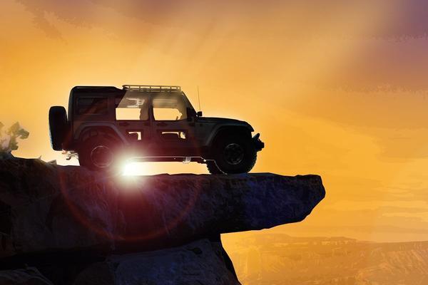 Jeep blikt vooruit op ruig duo