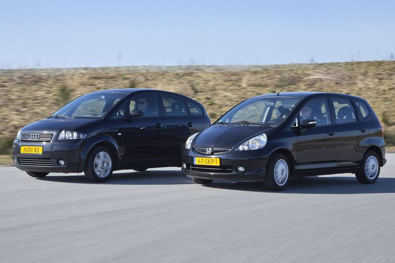 Occasion dubbeltest Audi A2 vs. Honda Jazz