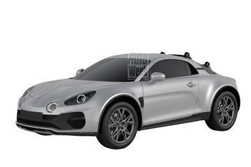 Opgehoogde Alpine A110 op patentbeeld