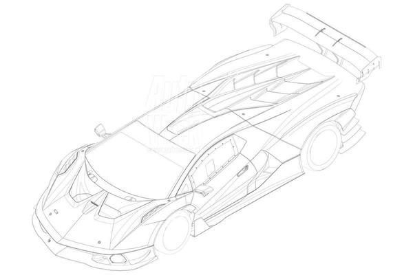 Lamborghini SCV12 op patentplaten te zien