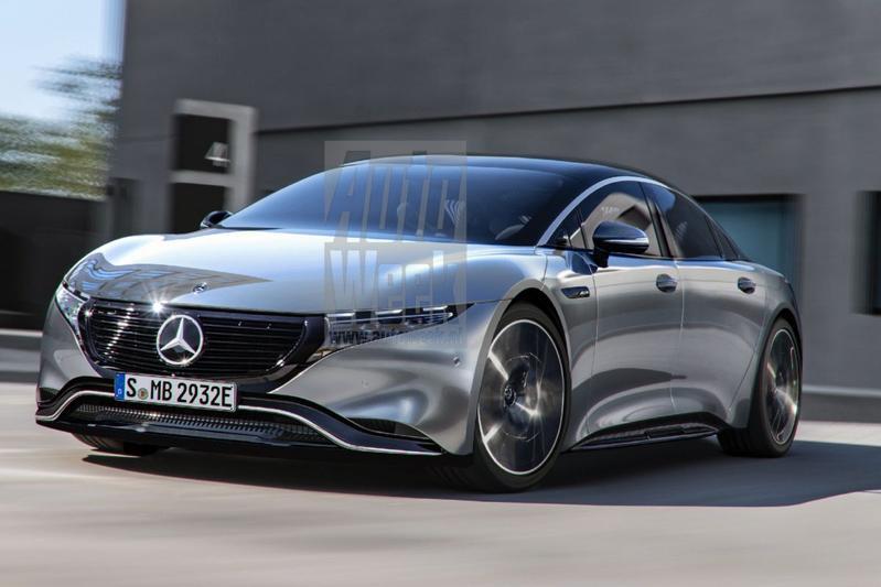 Mercedes-Benz EQE render vooruitblik