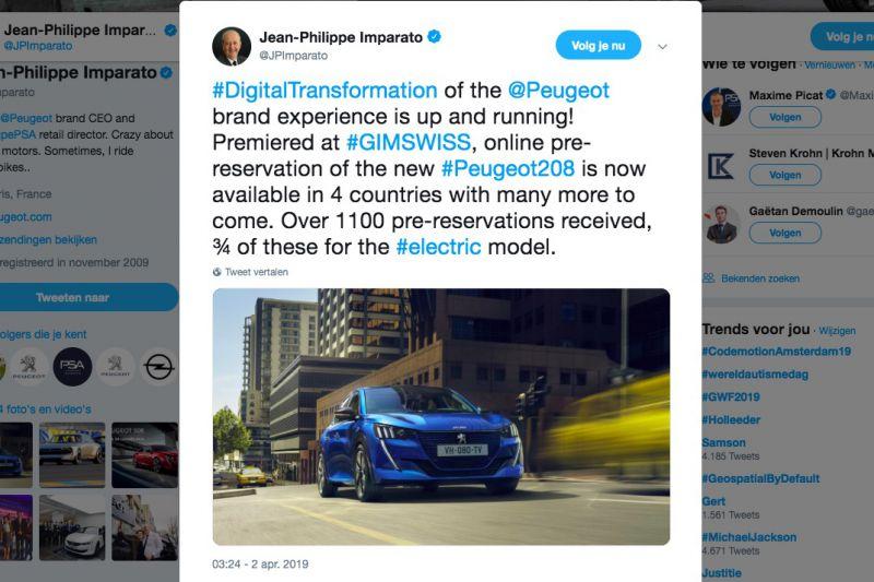 Peugeot Tweet Jean-Philippe Imparato
