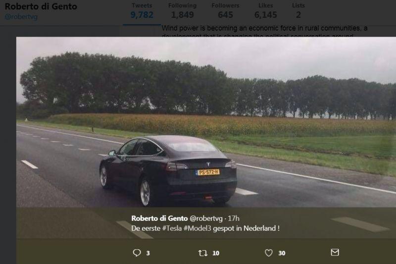 Eerste Tesla Model 3 in Nederland gespot