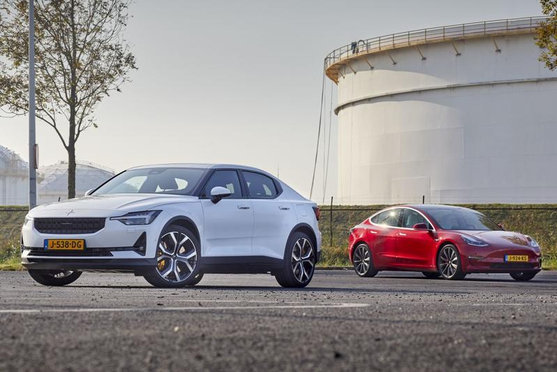 EV elektrische auto multitest Polestar Tesla