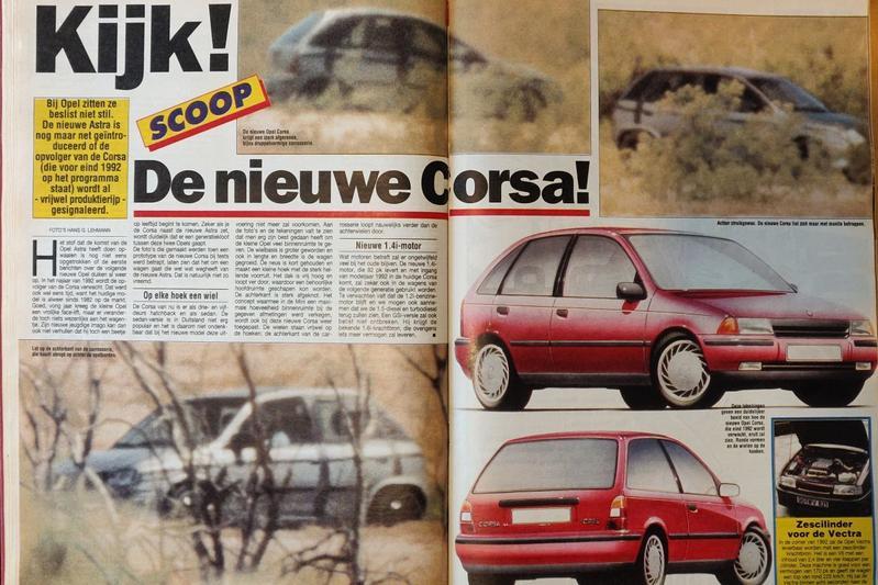 Opel Corsa spyshots 1991 Oude Doos