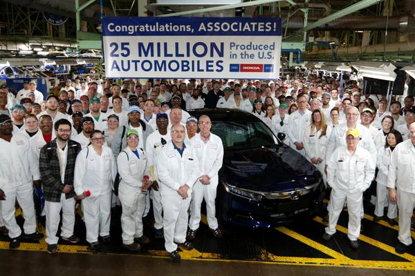 Honda bouwt 25 miljoenste auto in de VS