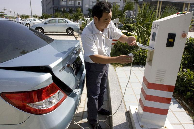 Elektrische auto Mercedes-BYD in Peking