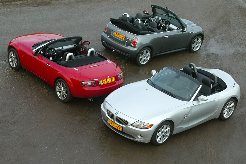 triotest mazda mx5 bmw z4 mini cooper s cabrio. Black Bedroom Furniture Sets. Home Design Ideas