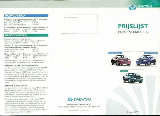 Daewoo Nexia Sedan, Nexia Hatchback, Espero Gl, Gl