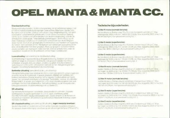 Opel Manta Gt-j,gt-e,srluxe,berlinetta,standaard