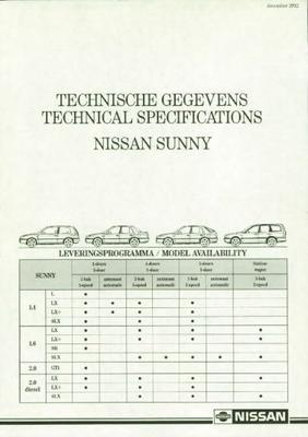 Nissan Sunny L,lx,slx,sr,gti