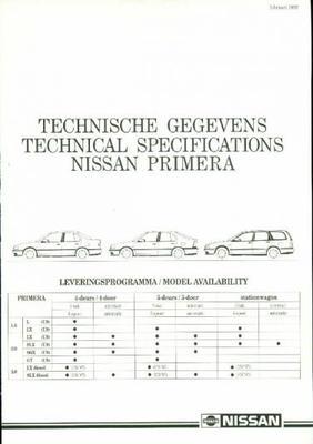 Nissan Primera L,lx,slx,sgx,gt