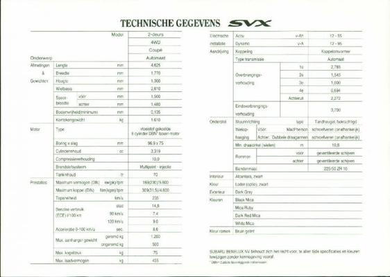 Subaru Svx 2 Deurs,4wd,coupe,automaat