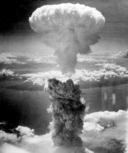 De kernexplosie van de bom op Nagasaki