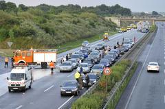 Kettingbotsing op A2 bij Hannover (foto: ANP)