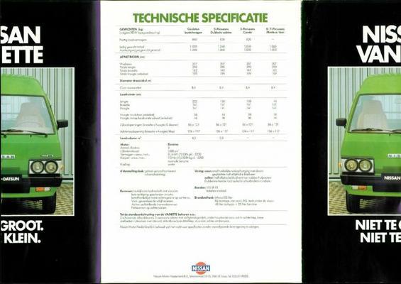 Datsun Vanette brochure