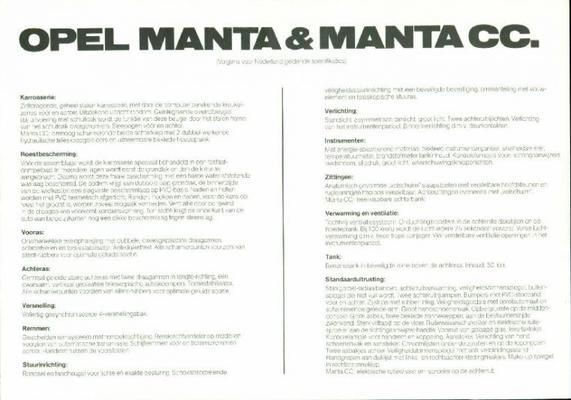 Opel Manta Cc,standaard,de Luxe,berlinetta,gt-e,sr