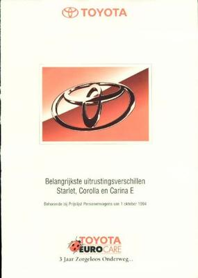 Toyota Starlet,carina E,corolla Xl,gl,gts,