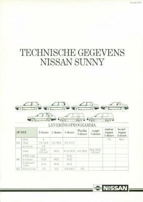Nissan Sunny Florida,coupe,stationwagon,bestelwage