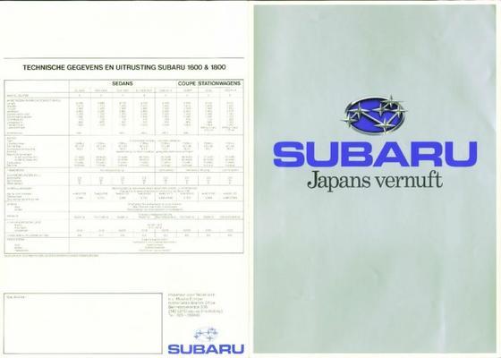 Subaru 16.001.800 Sedan,coupe,stationwagen