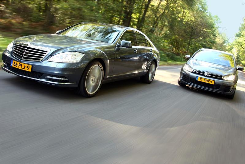 Verbruiktest Mercedes S250 CDI en VW Golf GTD