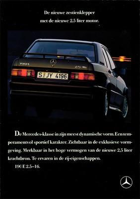 Brochure Mercedes-Benz 190 E 2.5-16 1989