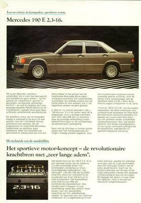 Brochure Mercedes-Benz 190 E 2.3-16 1984