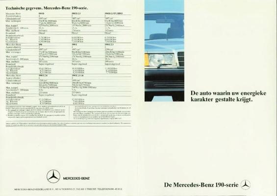 Brochure Mercedes 190 1988