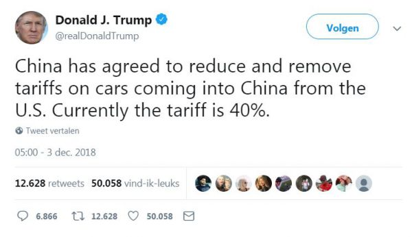 Trump tweet china importtarieven