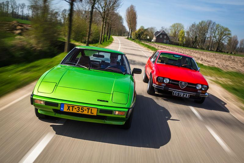 Dubbeltest - Alfa Alfetta GTV (1976) vs Mazda RX7 (1979)