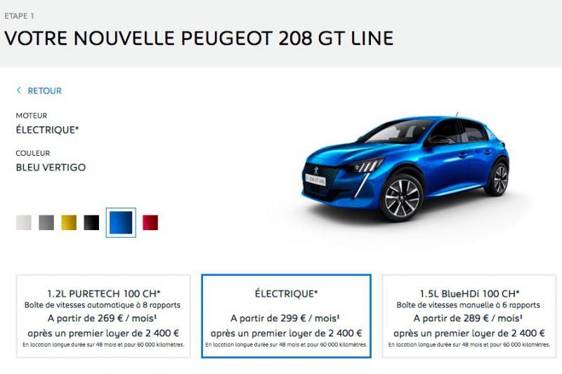 Peugeot 208 private lease Frankrijk